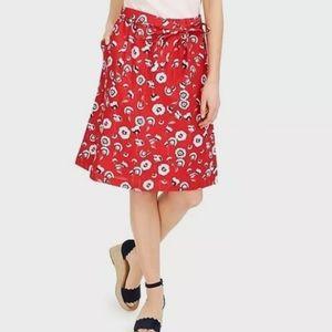 J.Crew Factory Floral Tie-Waist Midi Skirt